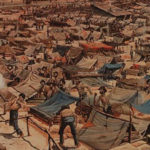 Detail of a color lithograph by Al. Jer. Klapp, 1903, that depicts the Andersonville prison camp