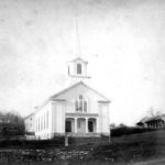 An early photograph of the current First Church of Christ in Mansfield that was built to replace the one that burned in 1866.