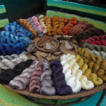 Skeins of silk dyed with plant-derived natural dyes  in modern day Laos