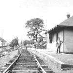 Train Depot in Eagleville.  Cotton mill on left side of tracks. Photograph courtesy of Archives & Special Collections, Thomas J. Dodd Research Center, University of Connecticut