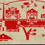 A wood block print by Wilma Keyes - Mansfield Center, 1959