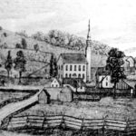 This engraving of a John Warner Barber drawing from the 1830s shows the second meetinghouse that was built on the site where the present day church is located. It burned on March 13, 1866.