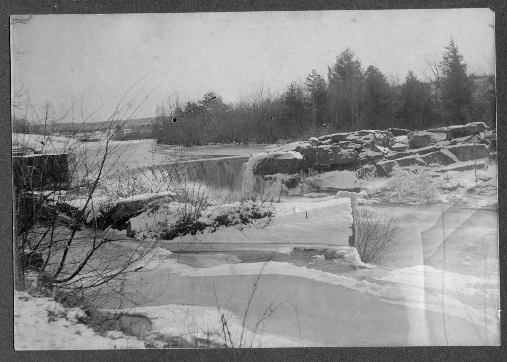 Original dam on the Natchaug River at Mansfield Hollow
